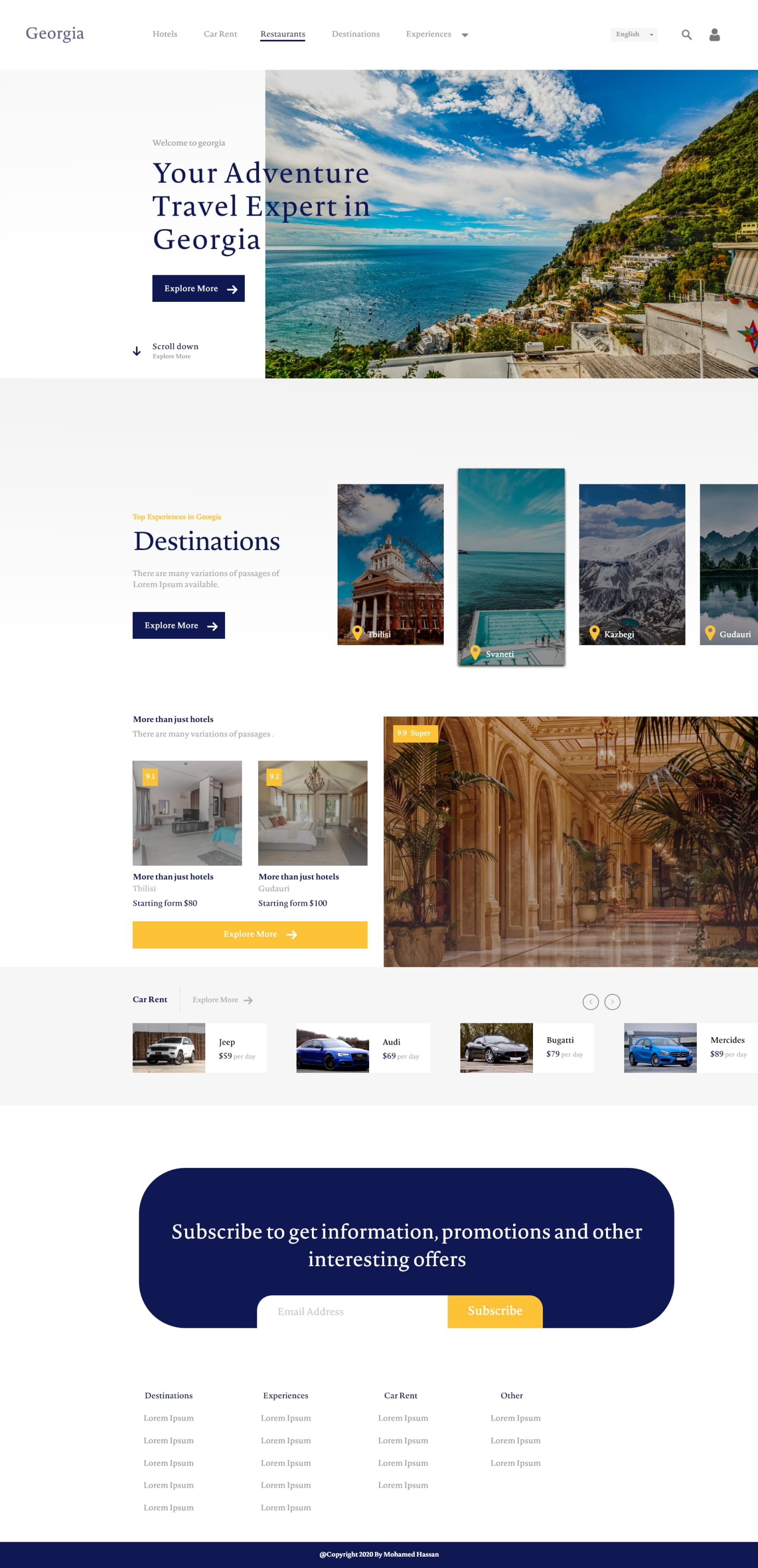 UI Design for a travelling company
