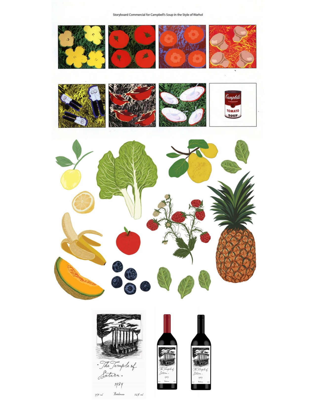 Examples of food and drink illustrations for branding, storyboarding, packaging, etc.