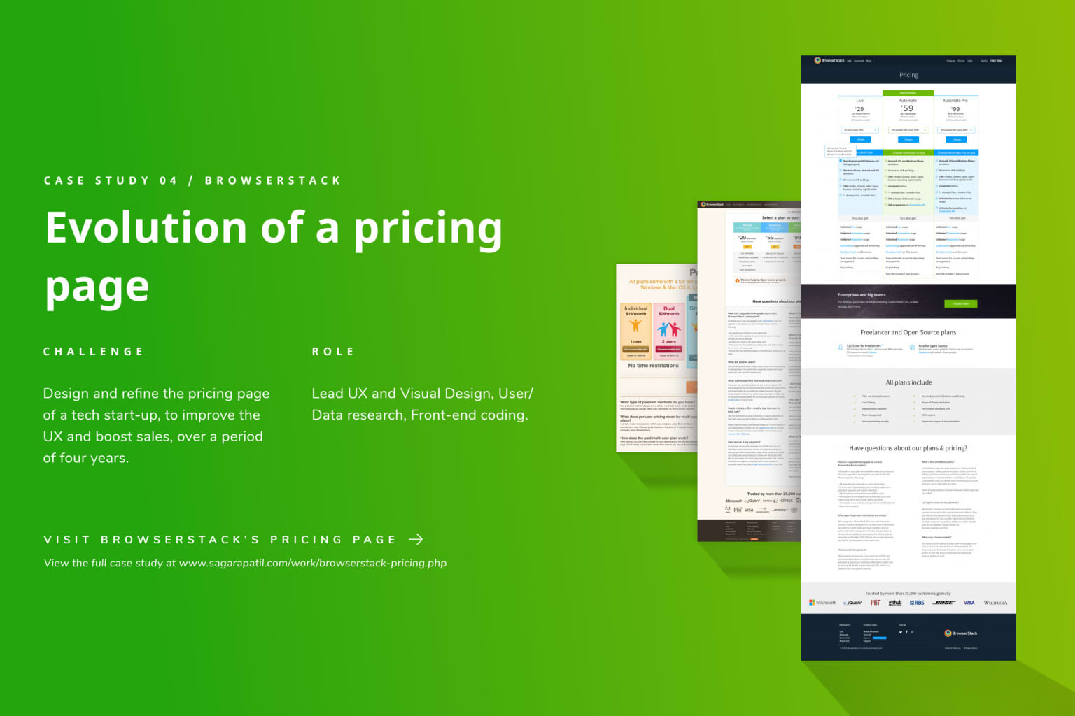 Evolution of a pricing page.