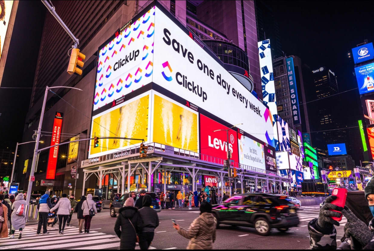 ClickUp.com Winter 2020 Brand Awareness and Series B Financing OOH Campaign