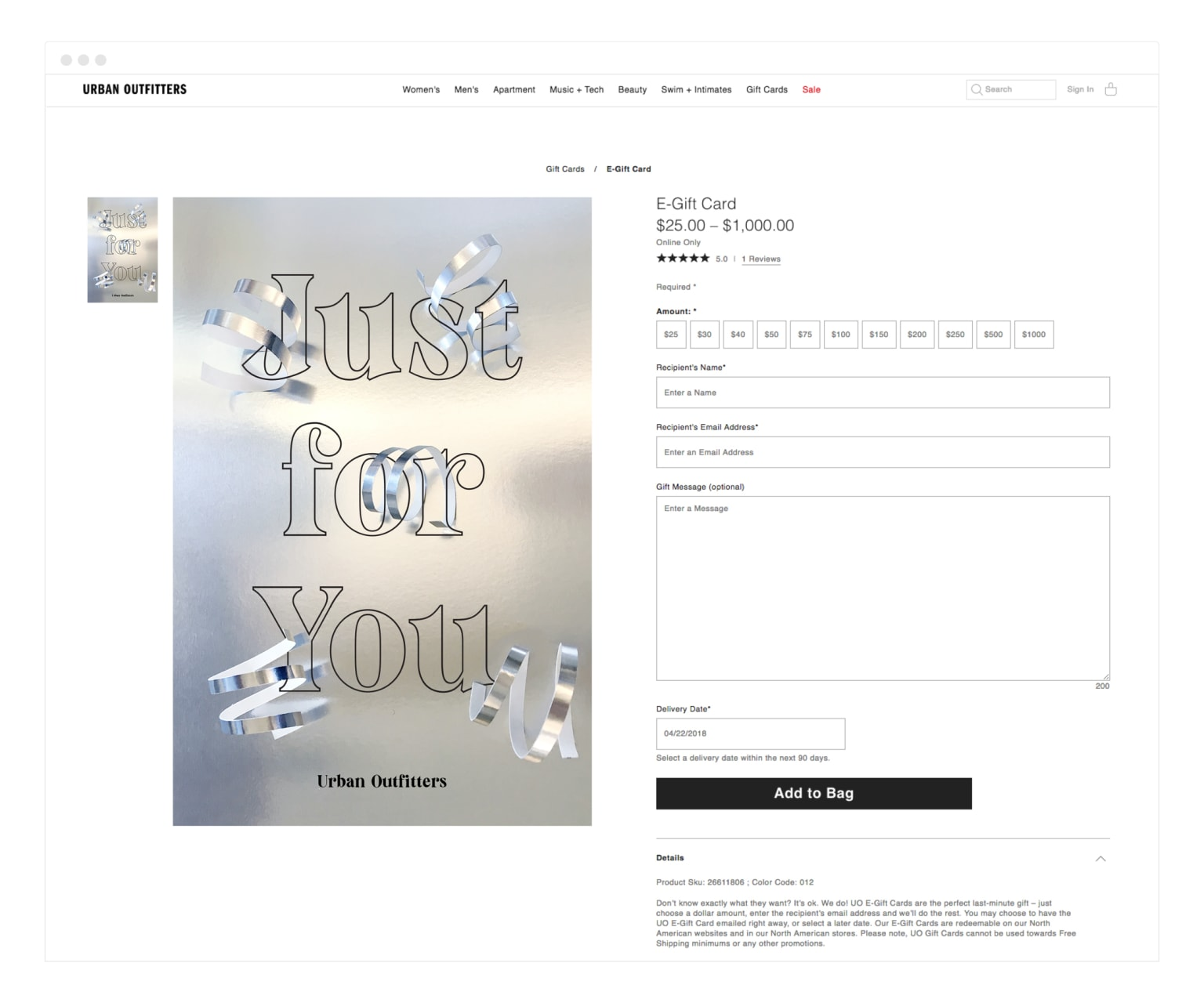 Urban Outfitters - Digital Gift Cards