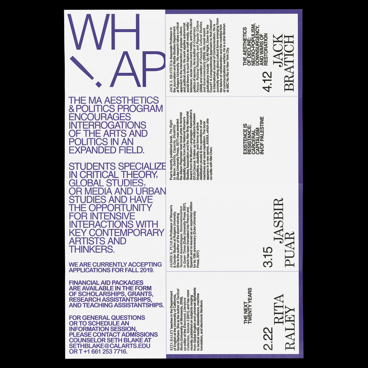 Spring 2019 WHAP Lecture Series Poster