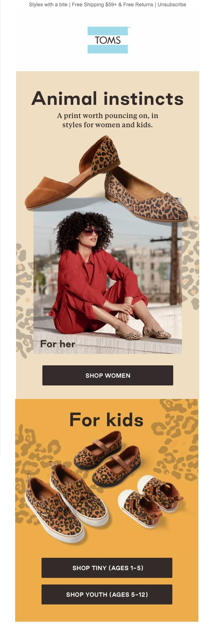 TOMS Shoes Email Design