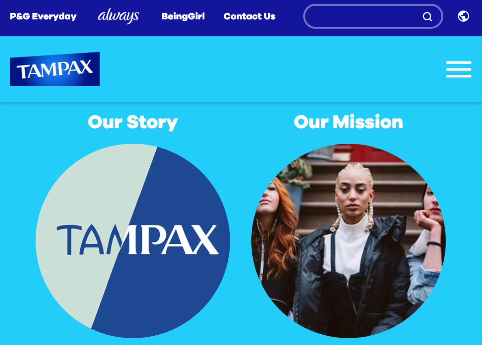 Tampax: copywriting for website refresh