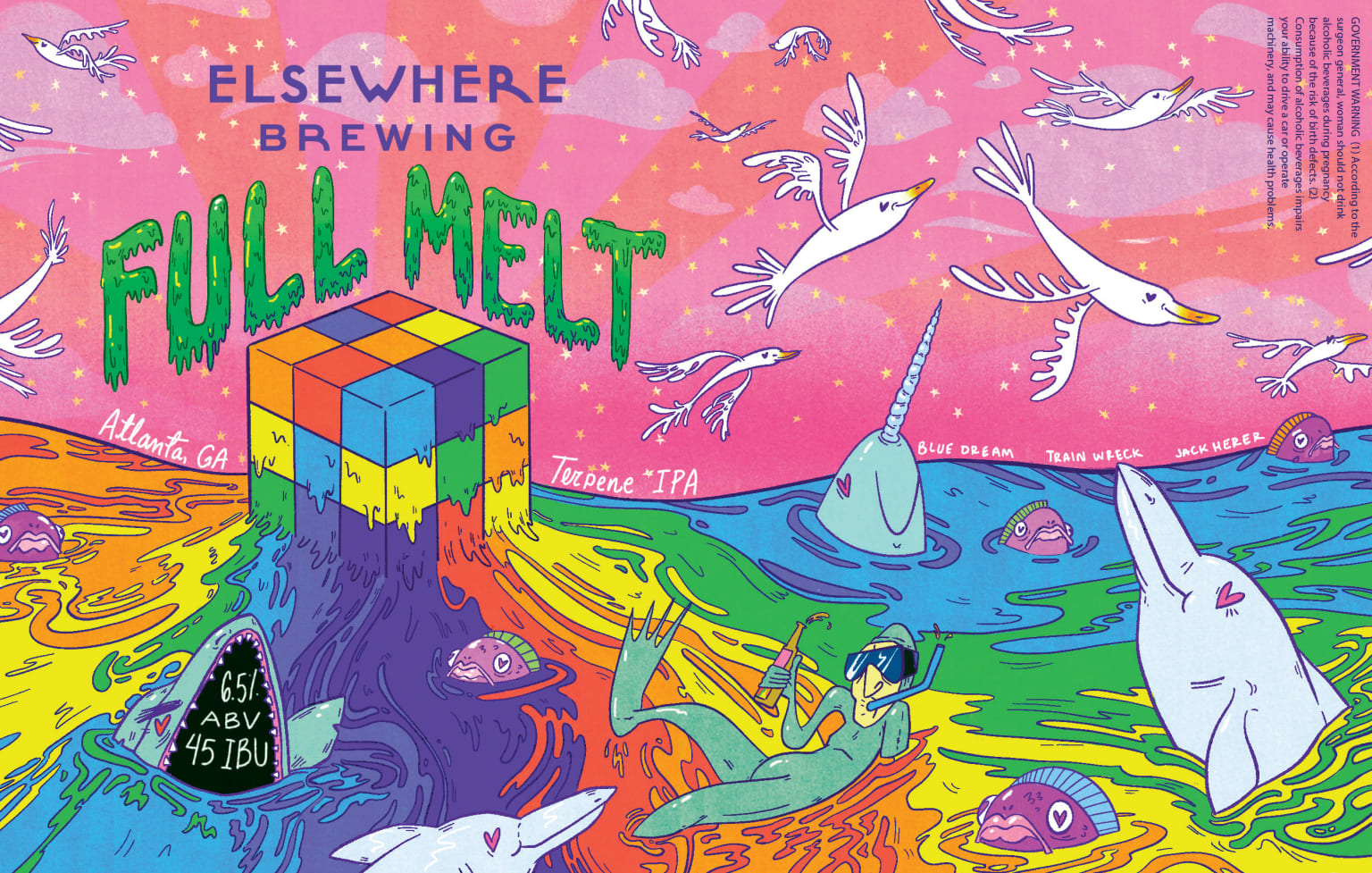 Elsewhere Brewing 'Full Melt' IPA beer label