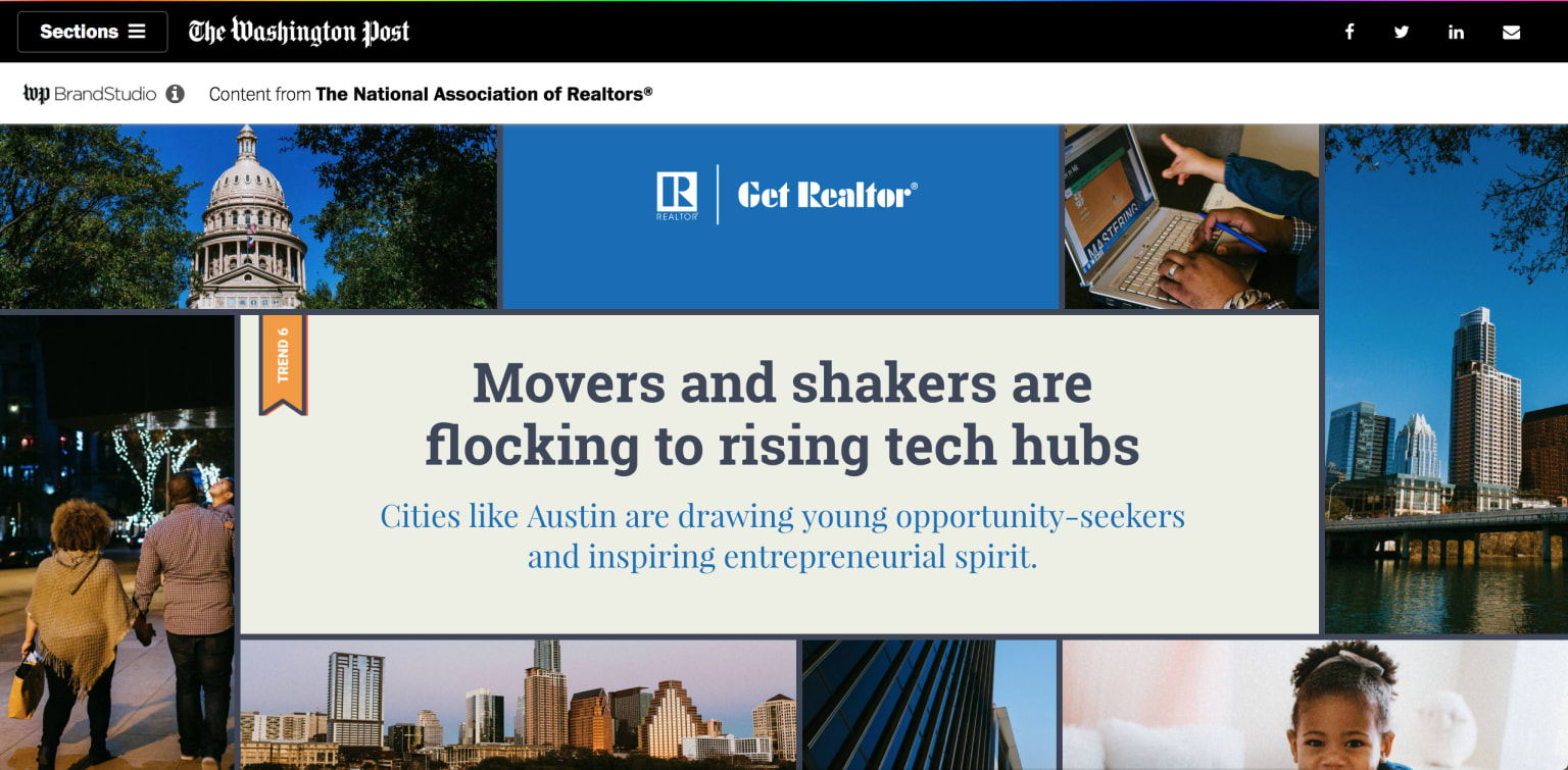 Branded content with the National Association of Realtors and the Washington Post Brand Studio