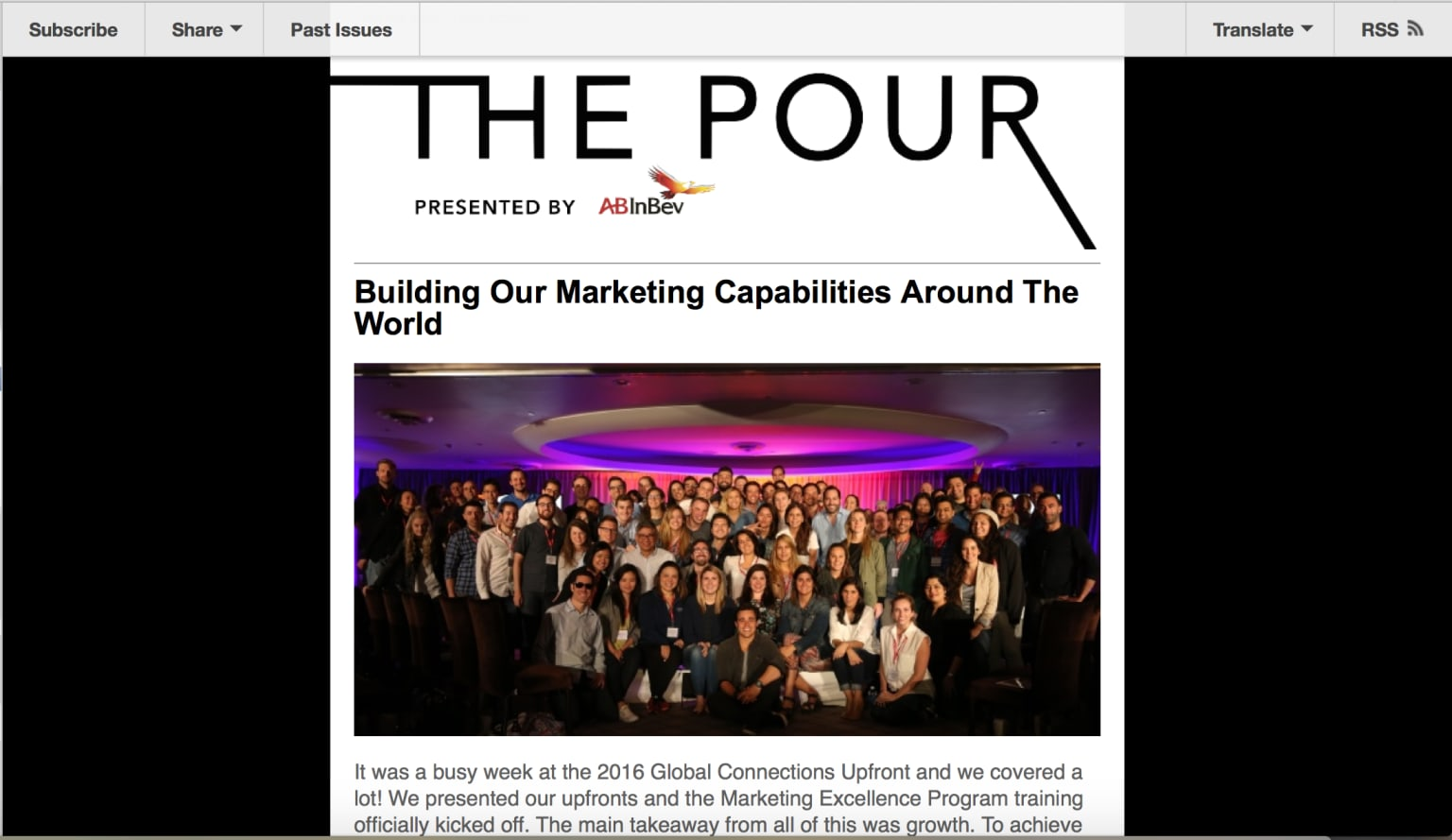 The Pour, content for Anhueser-Busch InBev