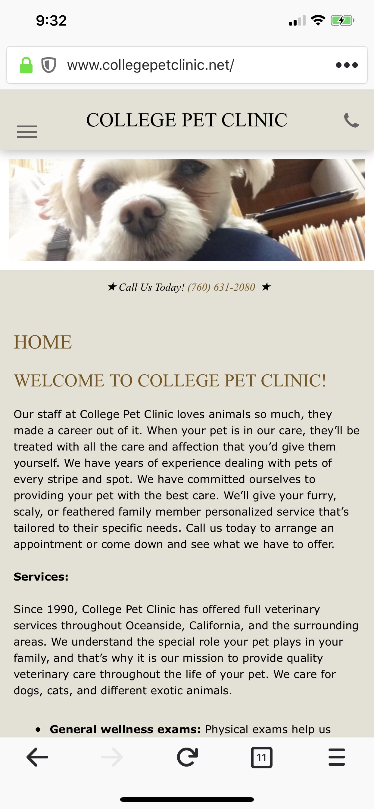 College Pet Clinic website and social
