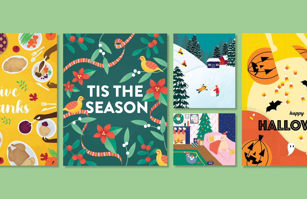 Holiday Paint By Numbers Illustrations