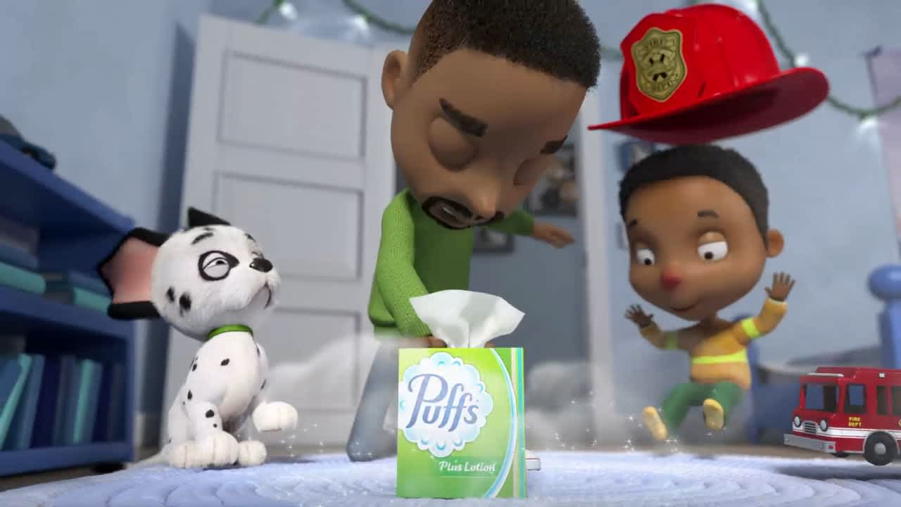 """""""Theo the Firefighter"""" for Puffs plus Lotion"""