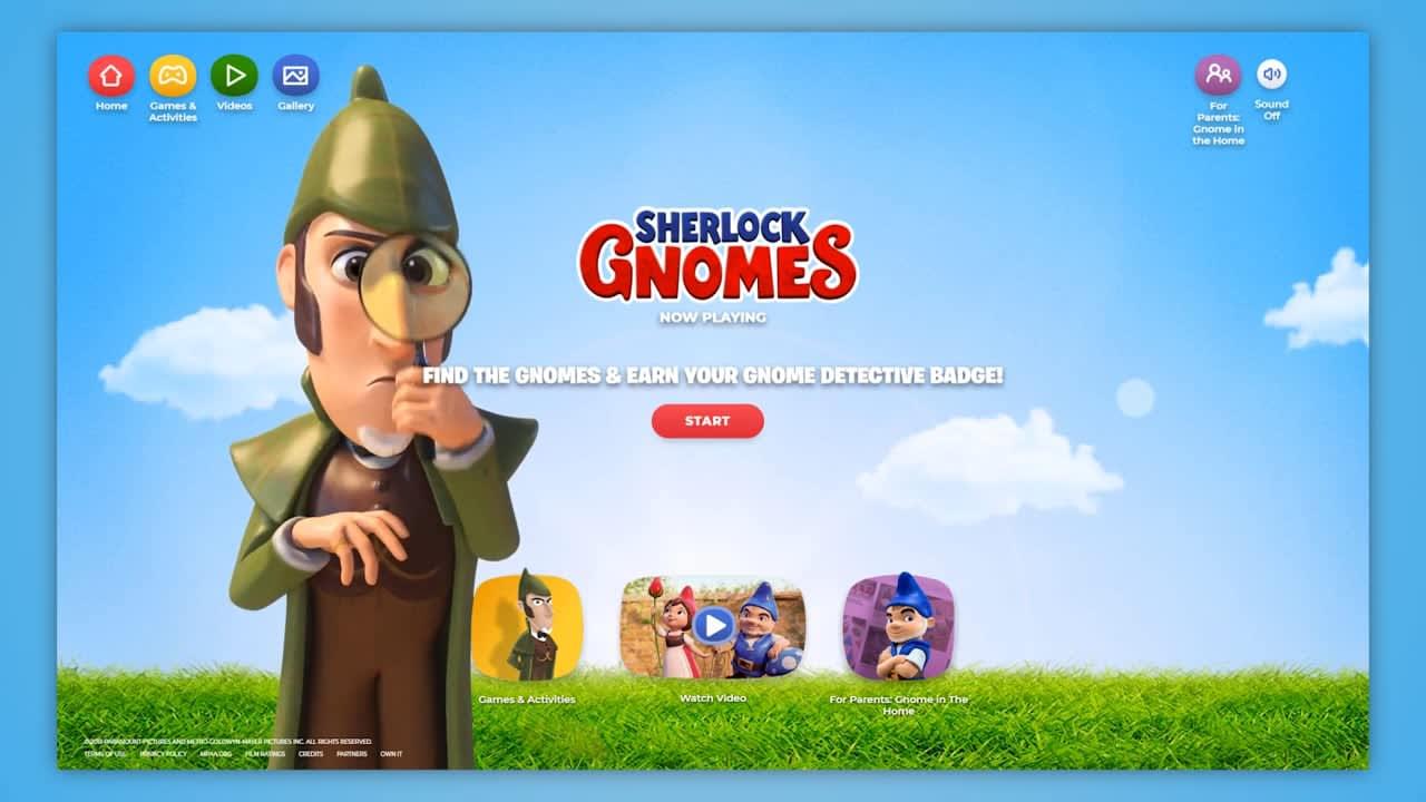 Sherlock Gnomes Microsite