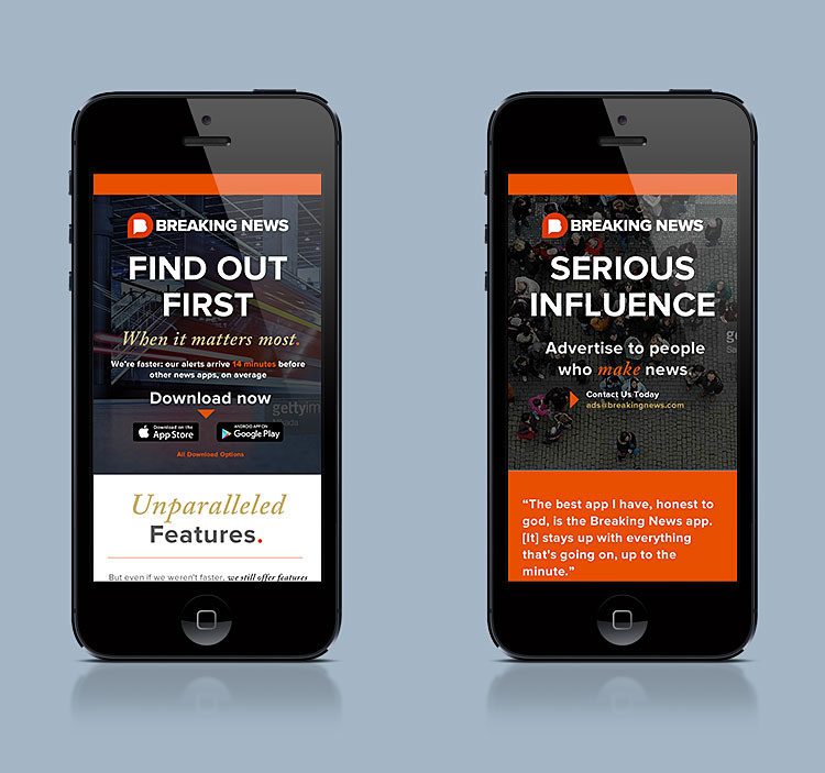 Breaking News: App & Ad Page Design