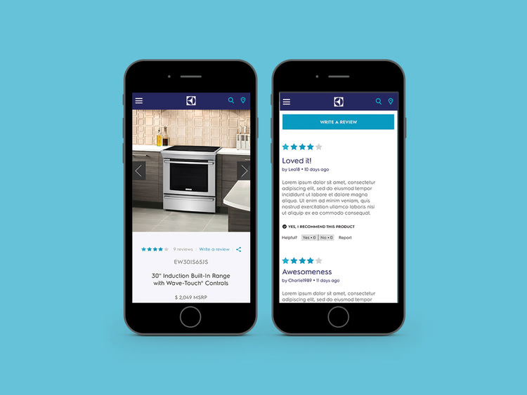 Electrolux Appliances site redesign