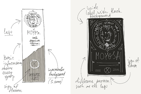 MOYOSA coffee syrup packaging design
