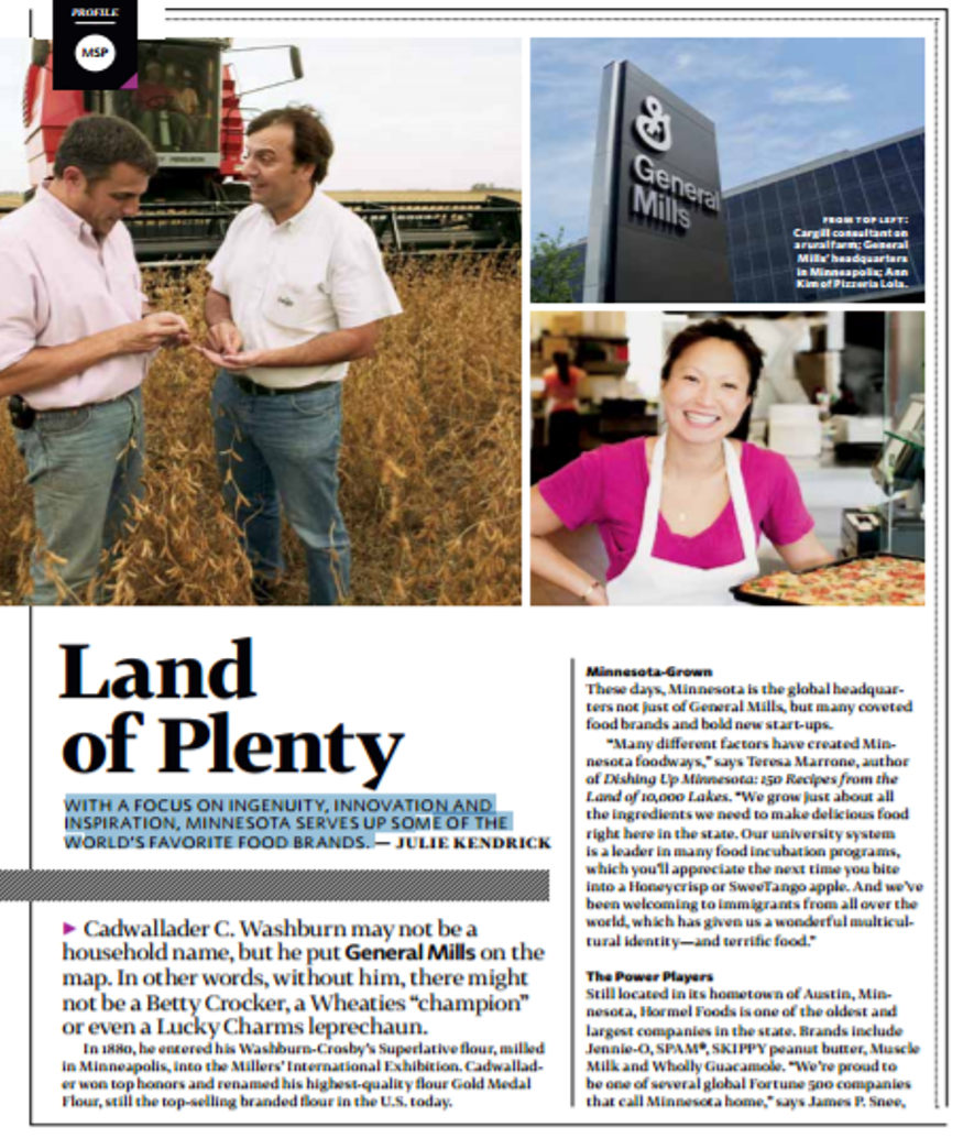 Delta Sky article on Minnesota food production