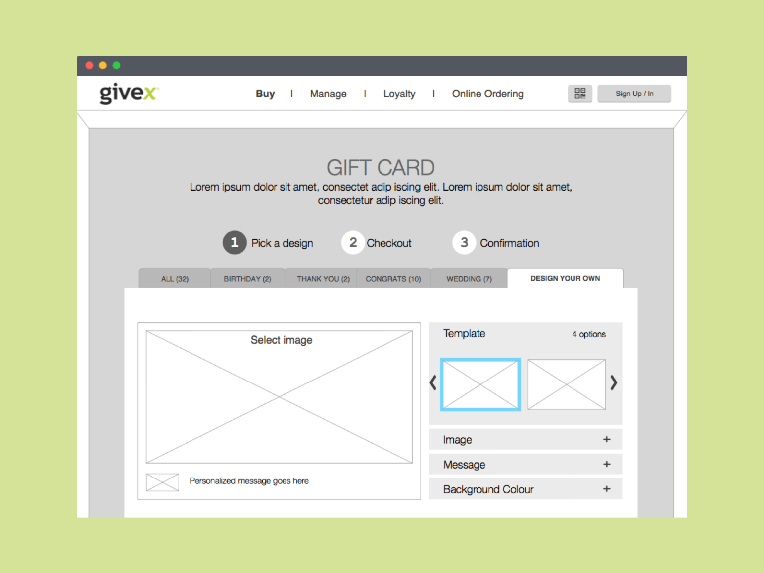Givex Gift Card Customizable Experience