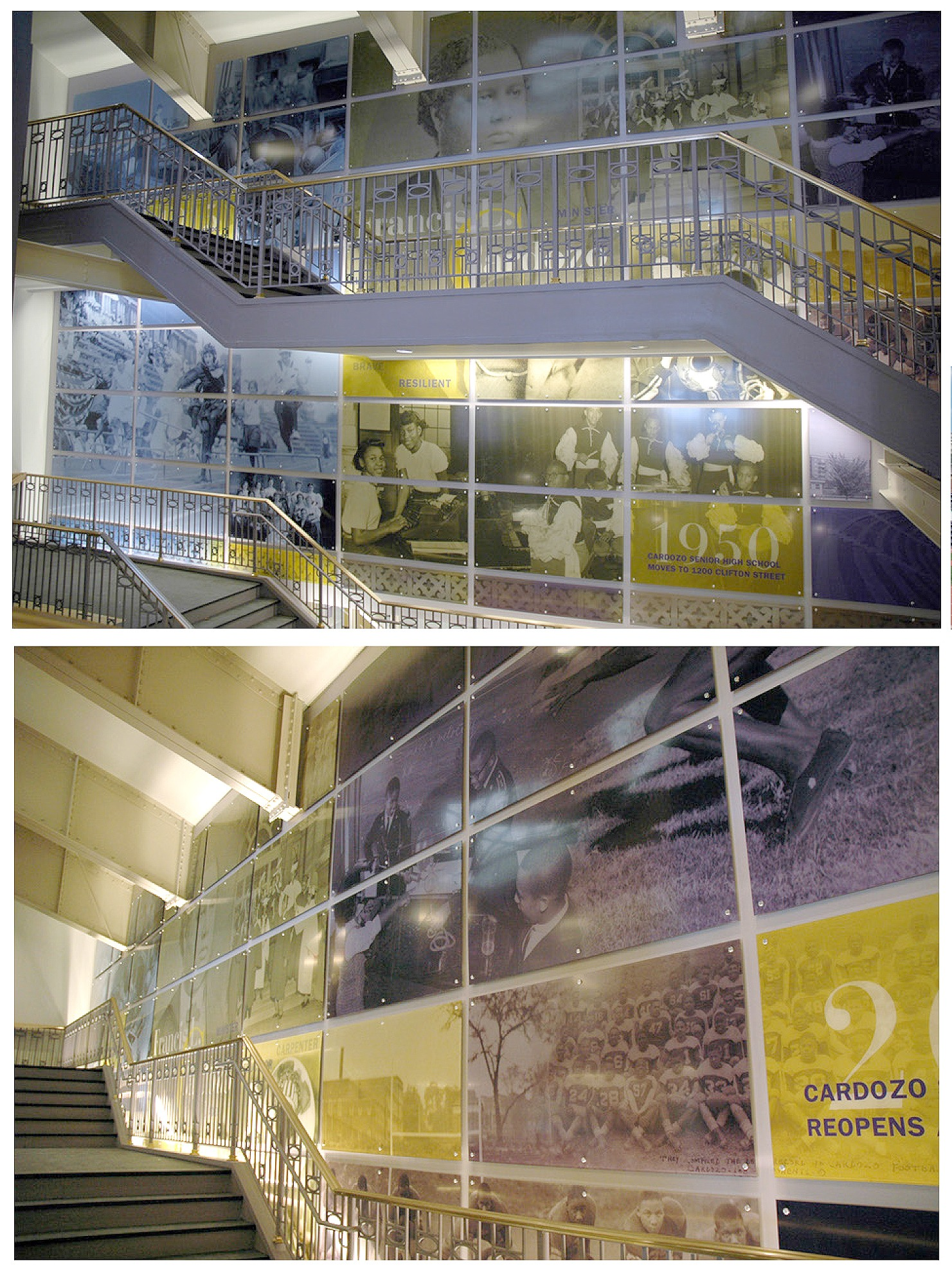 Large Scale Stairs Historical Graphic for Francis L. Cardozo Education Campus