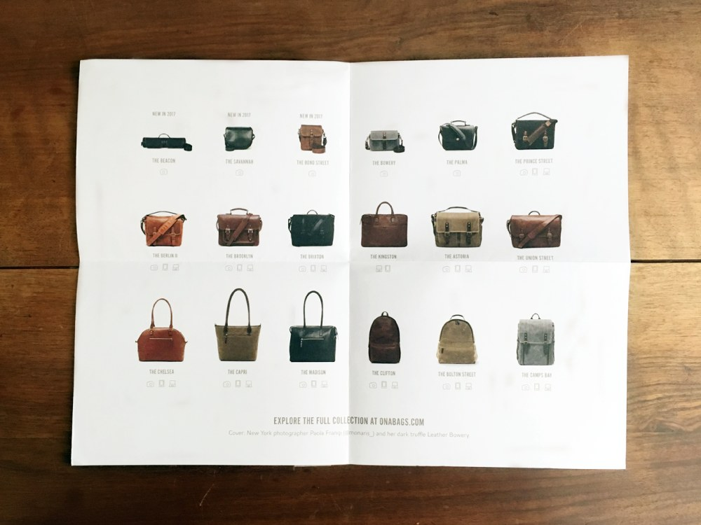 ONA Bags Product Line Mailer