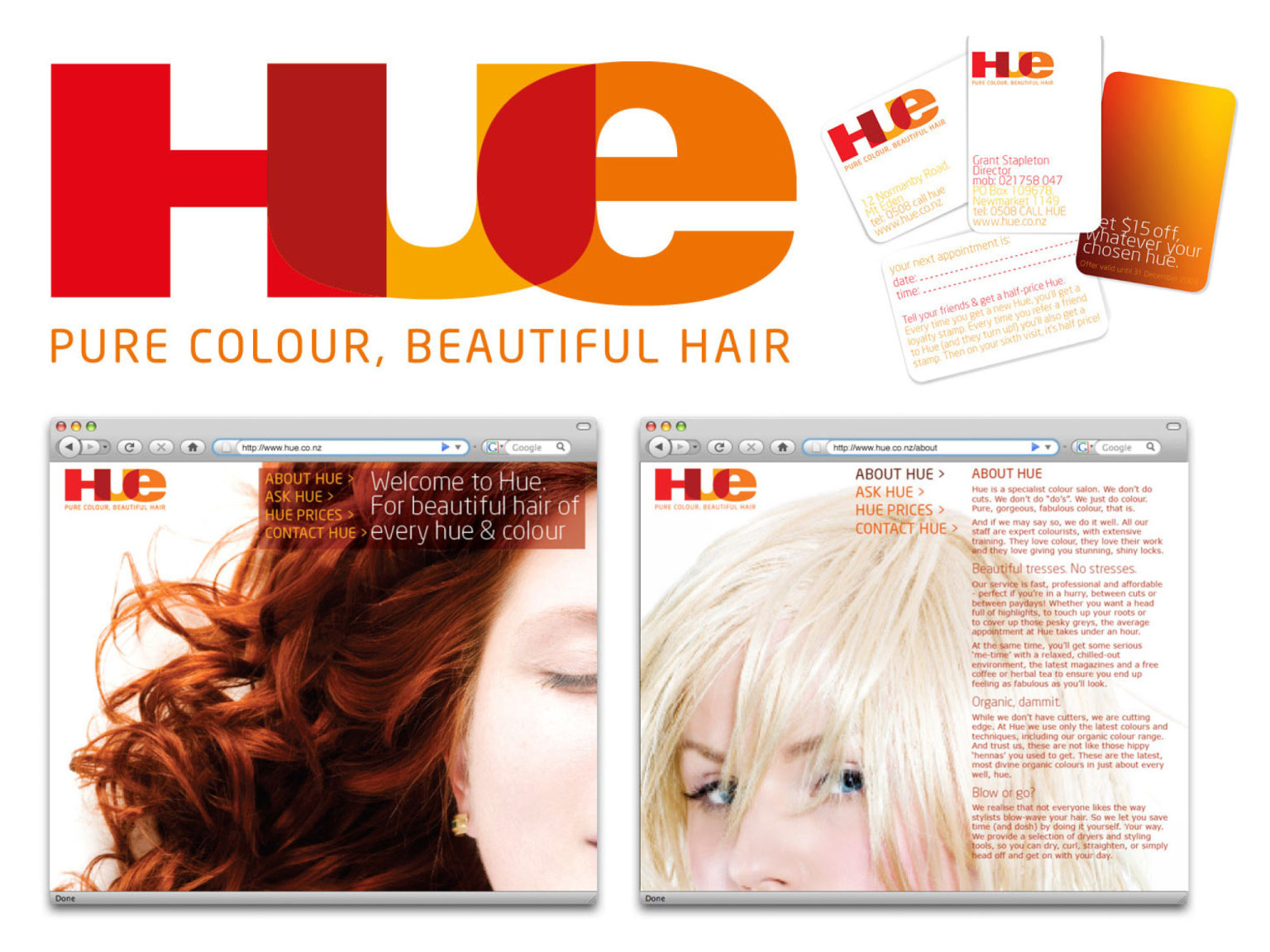 Hair colouring salon brand identity