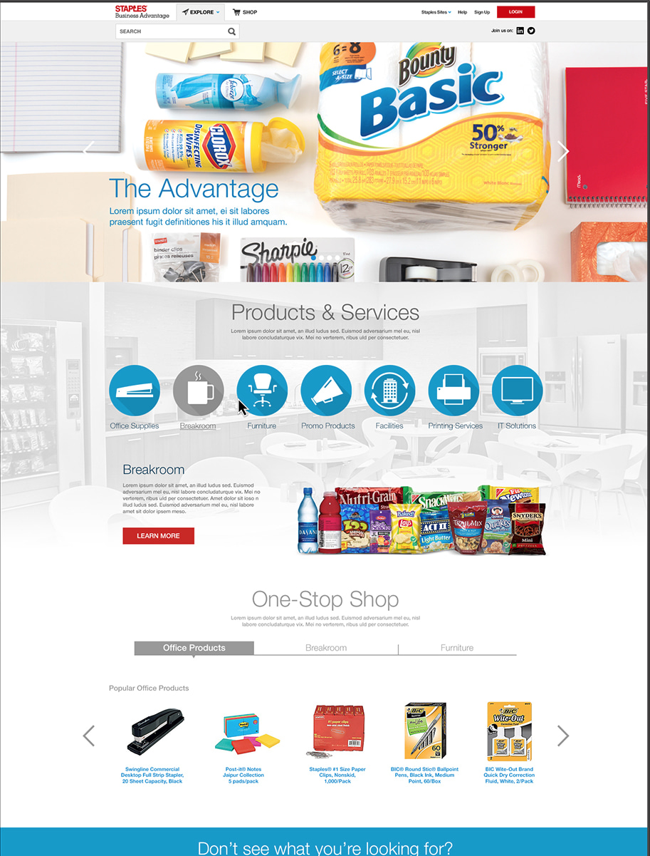 Staples Business Advantage - ReDesign & UX/Content Strategy