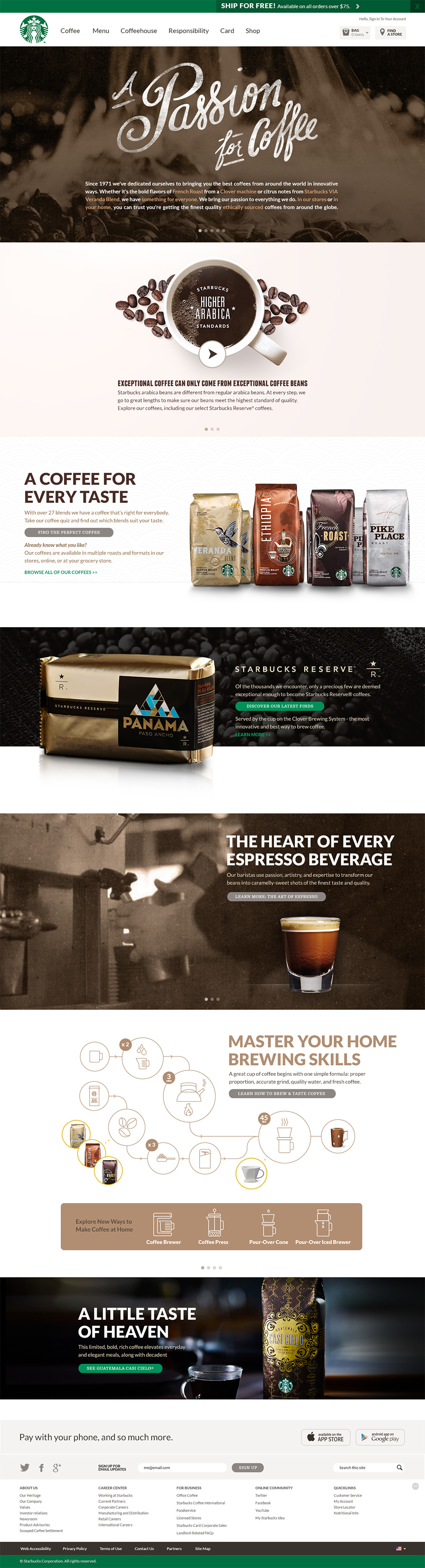 Starbucks Home Brew Illustration & Online Store Redesign