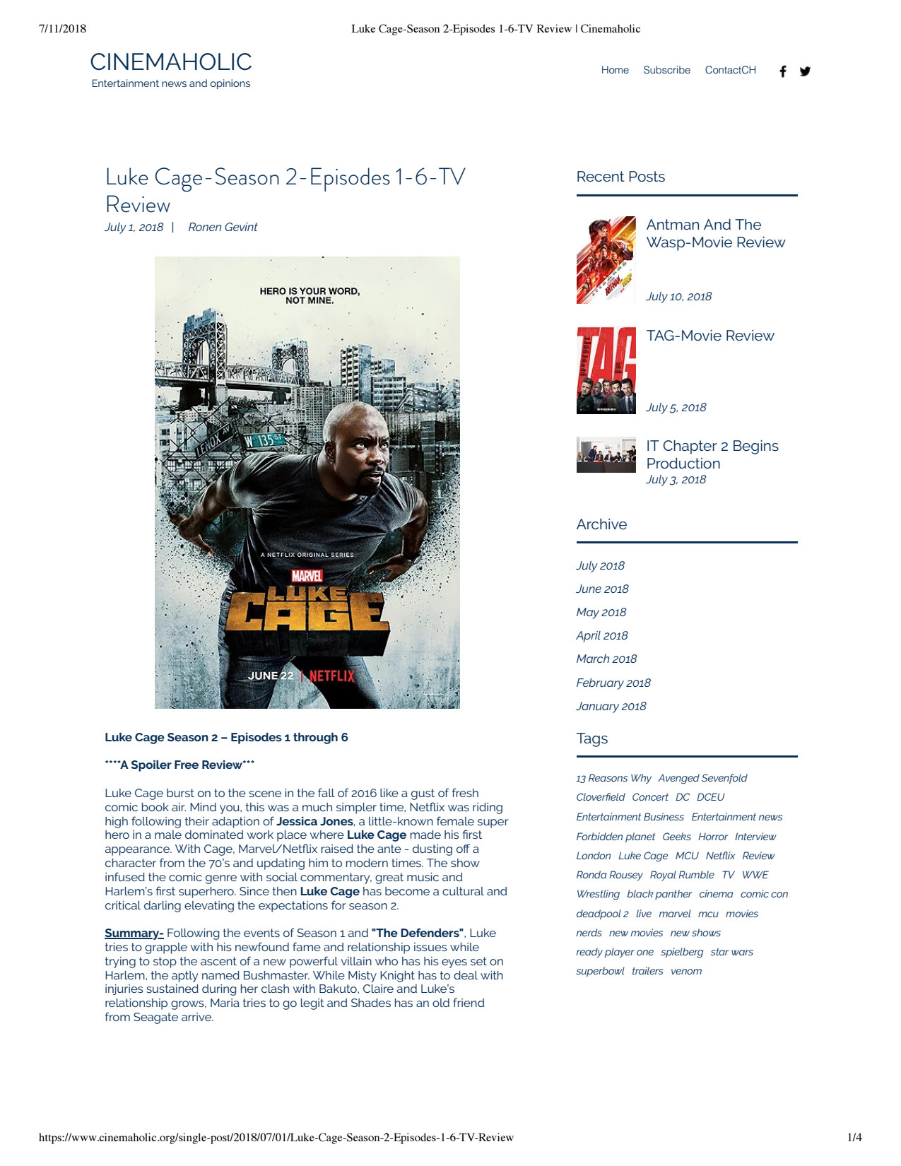 Online review for Netflix's Luke Cage - WNW
