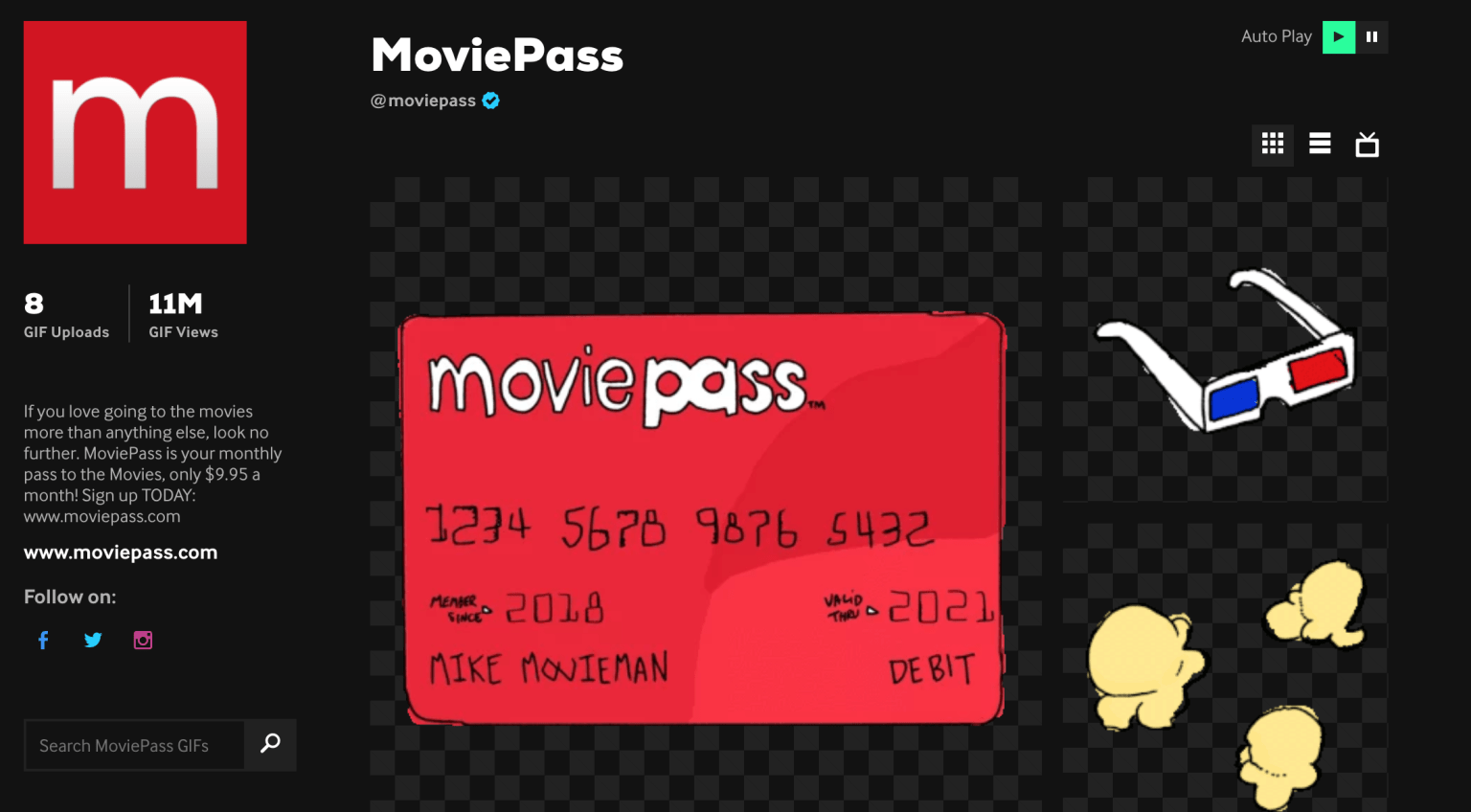 Moviepass x Giphy sticker pack