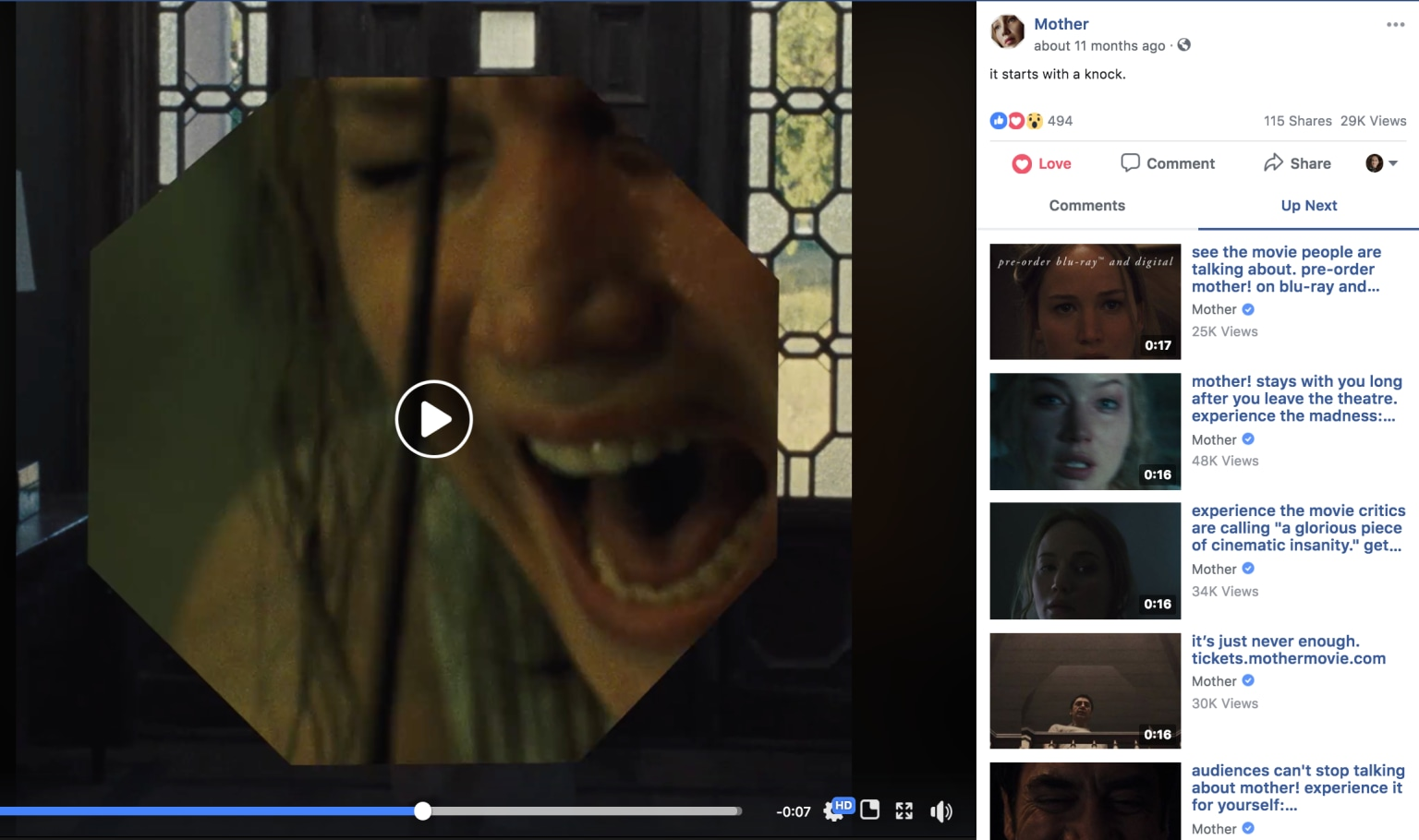 "Paramount's ""Mother!"" Facebook Video"