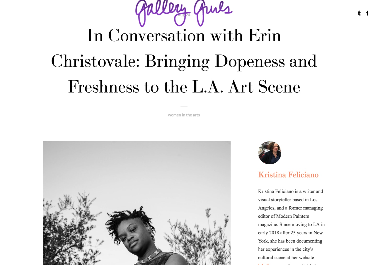 Erin Christovale for Gallery Gurls