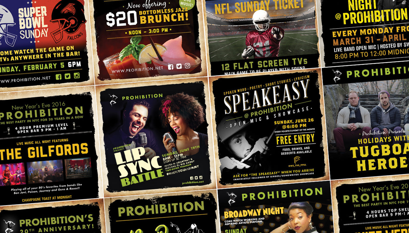 Prohibition NYC Bar Website and Social Media Graphics