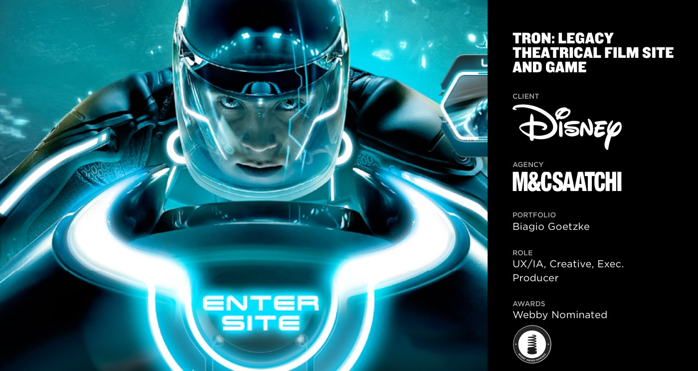 Tron Theatrical Film Site and Game (Webby Nominated)