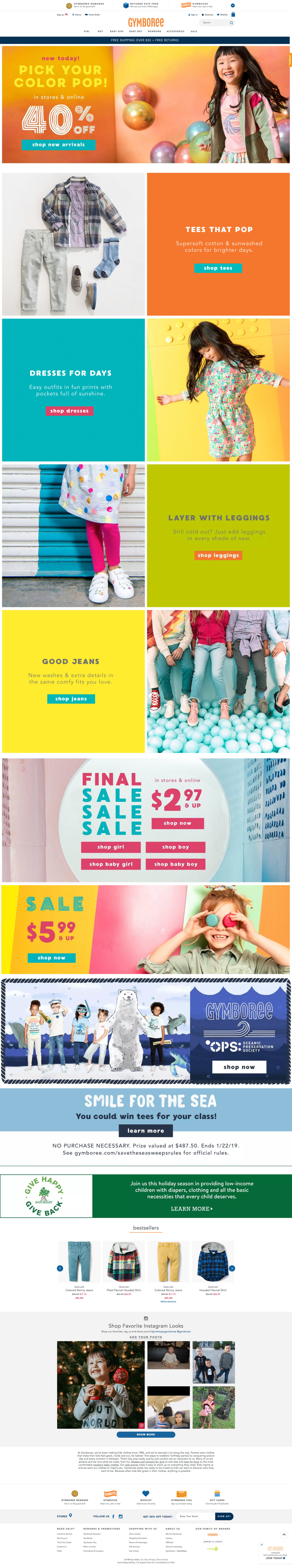 Gymboree Homepage Redesign