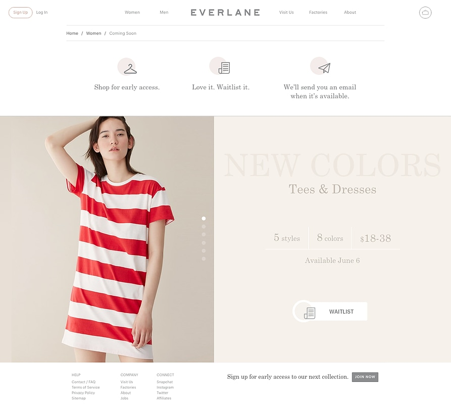 """Everlane """"Add-to"""" Waitlist Experience Concept"""