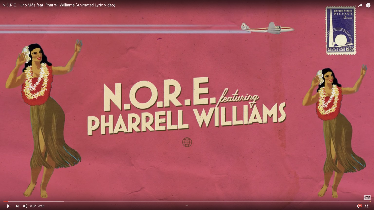"""UNO MAS"" - N.O.R.E. feat Pharrell Williams (lyric video)"