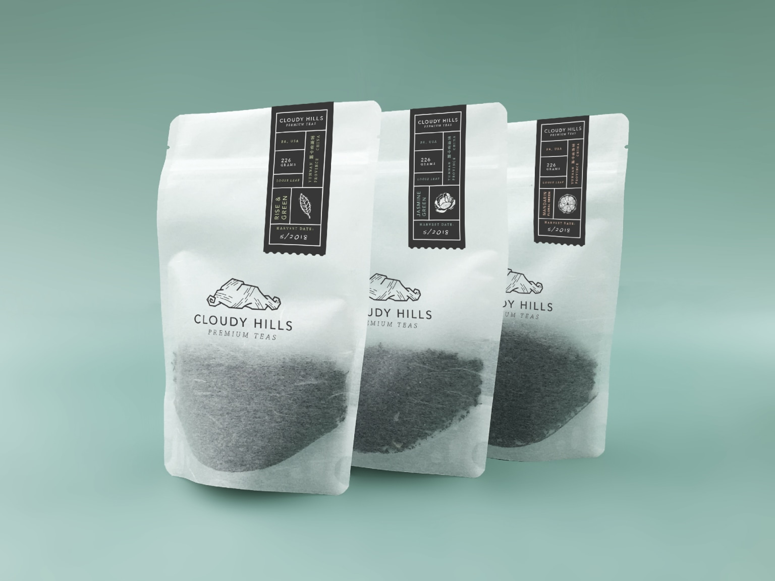 Cloudy Hills Tea Visual Identity, Packaging, and Brand Patterns