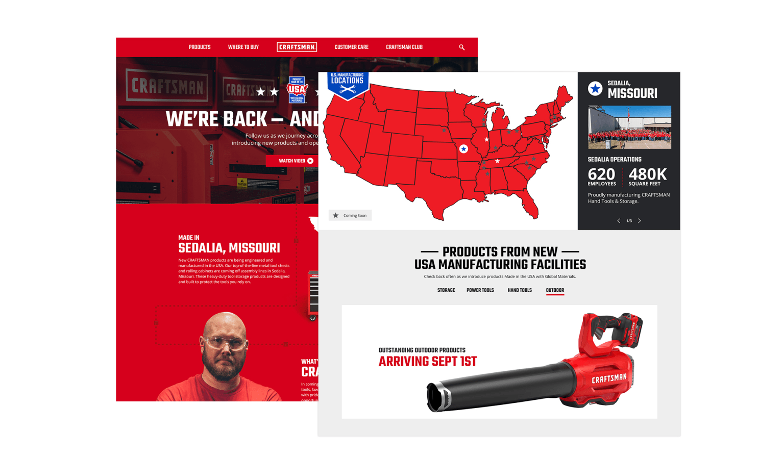 CRAFTSMAN Made in America Landing Page