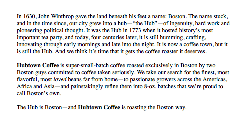 Writing packaging/branding copy for Hubtown Coffee Company