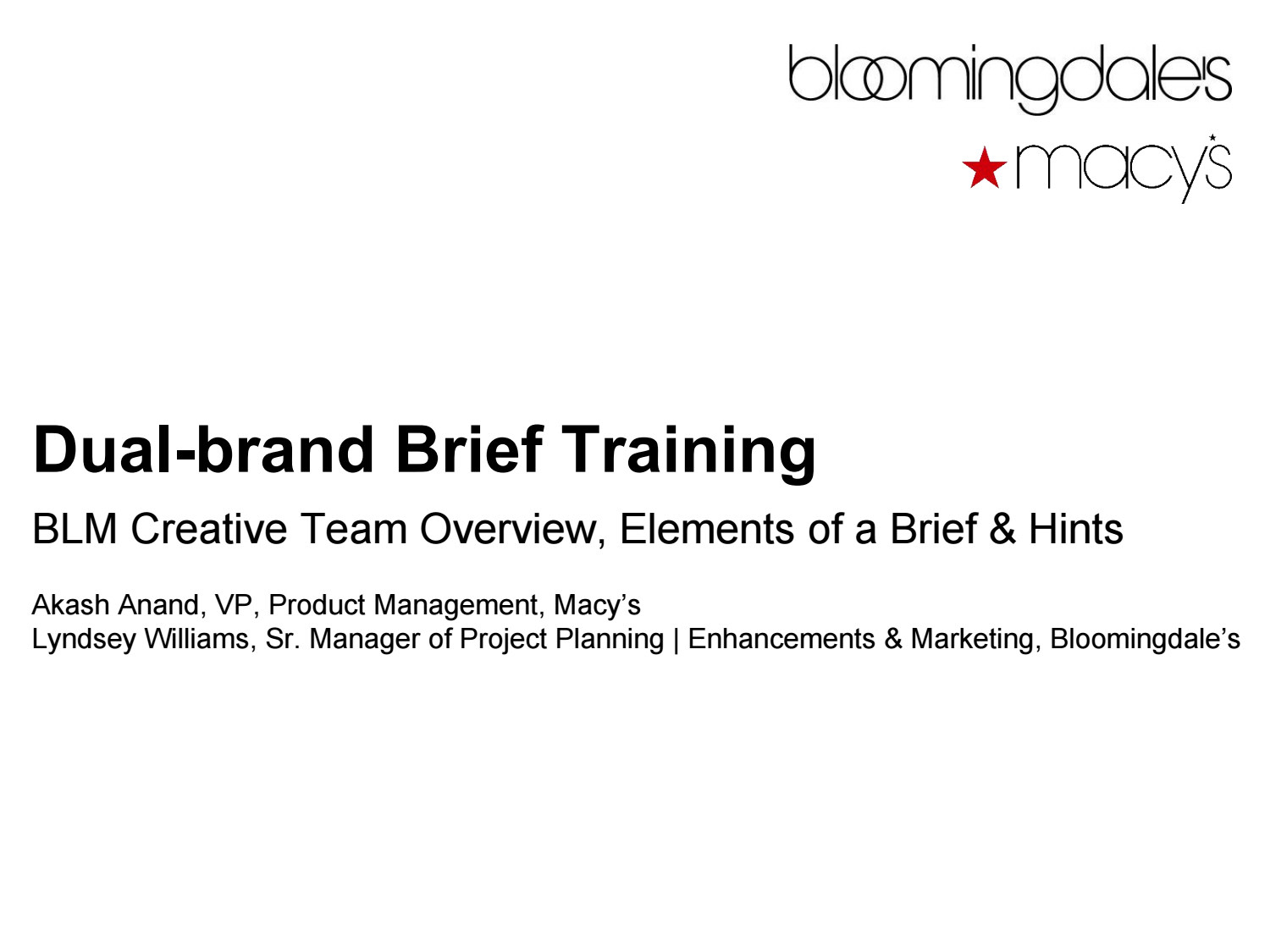 Creative Brief Training for Product Management