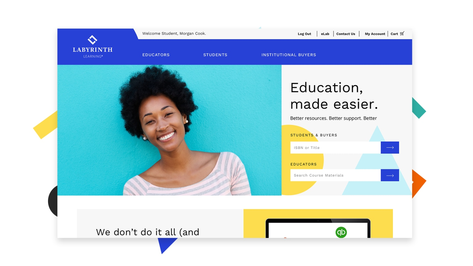 Wireframes + Designs for Education Website