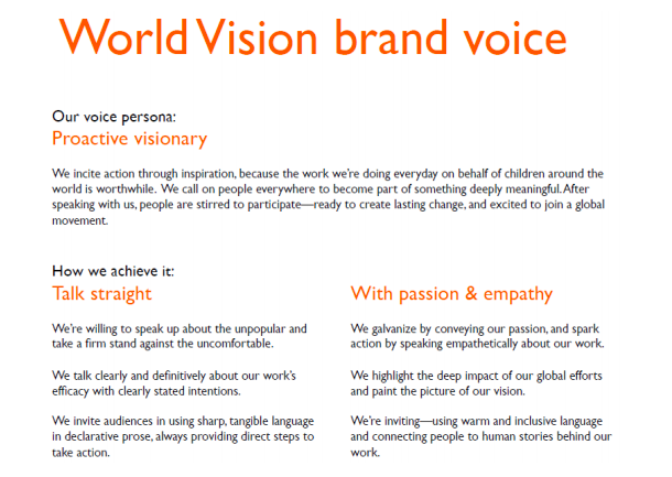 WORLD VISION brand voice + messaging guides