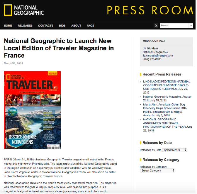 National Geographic - PR Release
