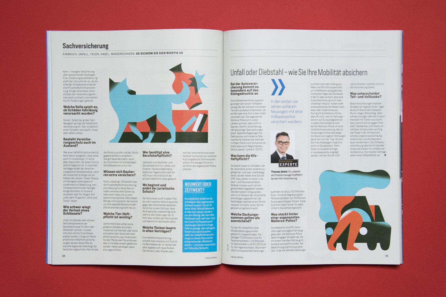 Focus Magazine Insurance Issue Illustrations