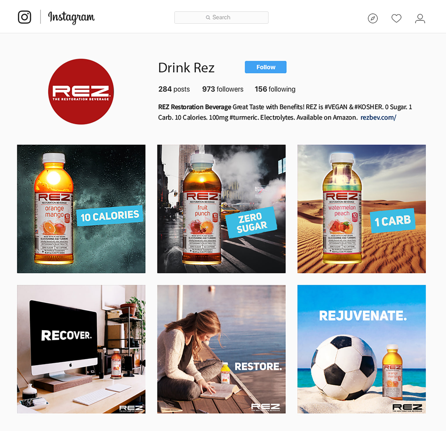 Social campaign for Rez, a natural energy drink