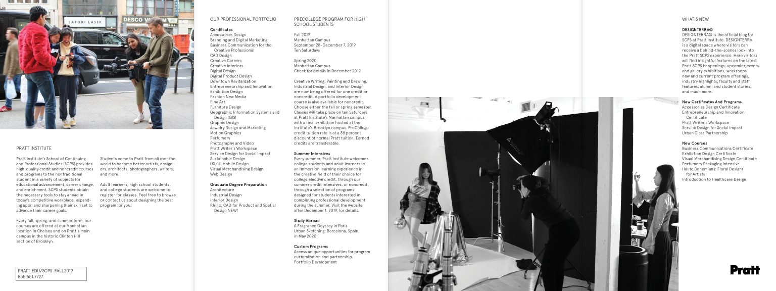 Brochure for School of Continuing and Professional Studies at Pratt