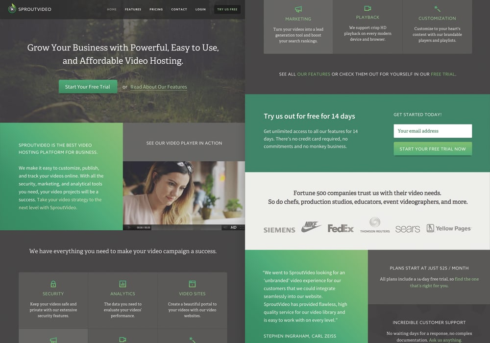 SproutVideo Marketing Website