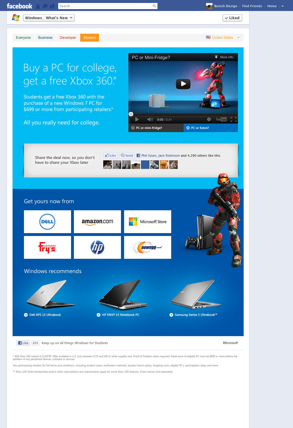 Microsoft Windows Back to School Campaign Landing Page