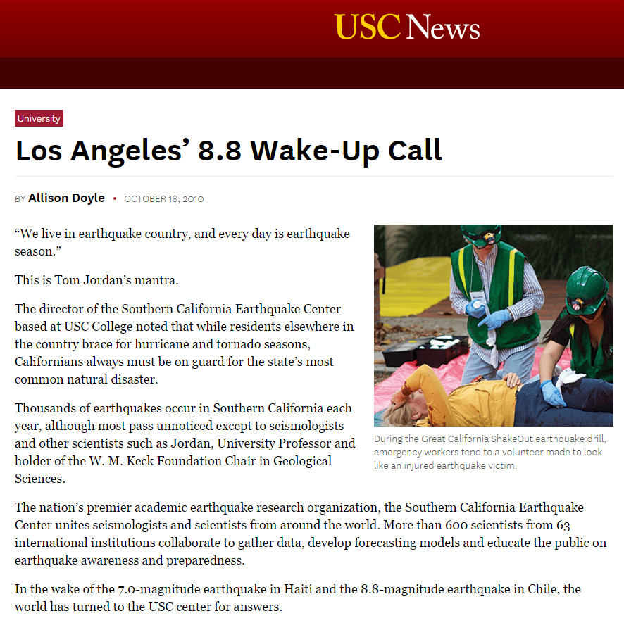 Los Angeles Wake-Up Call (Feature Magazine Article)