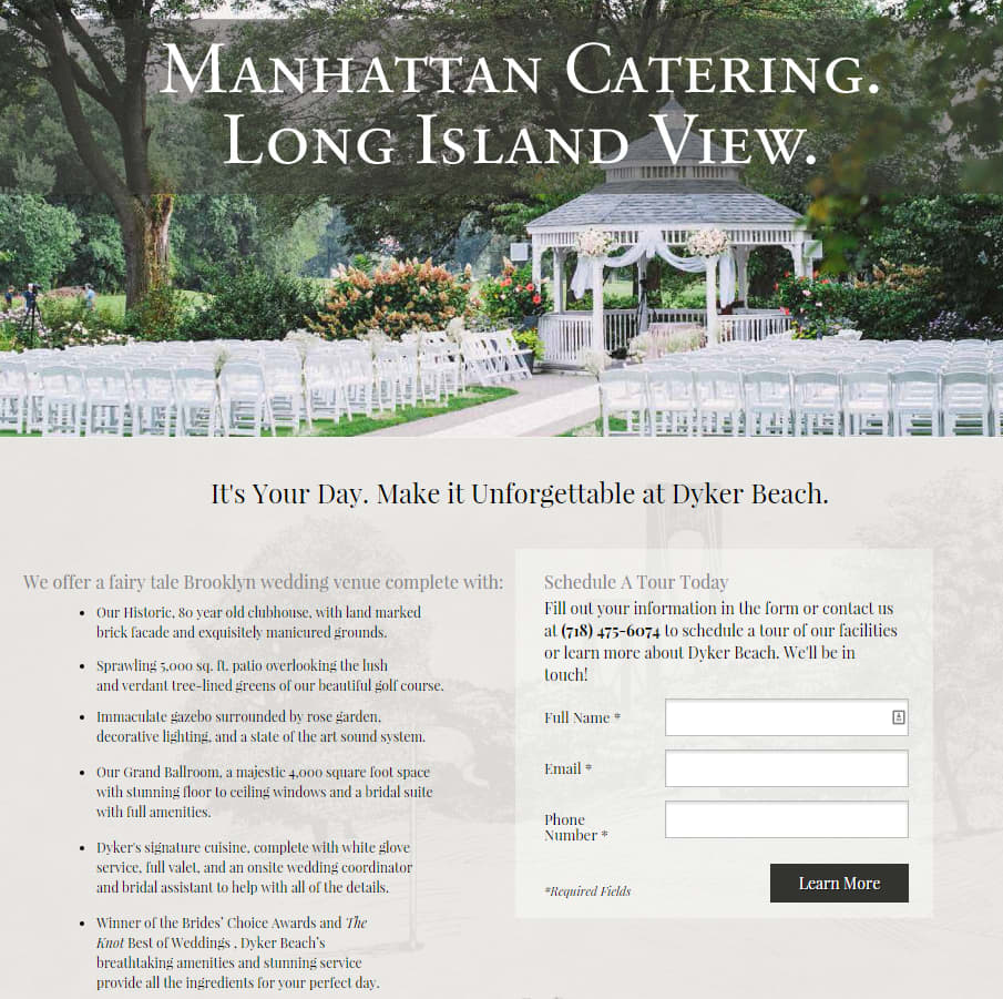 Landing Page for Dyker Beach Wedding Facilities