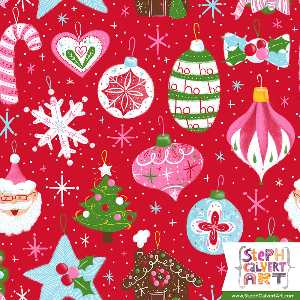 Happy Christmas Ornaments repeat pattern