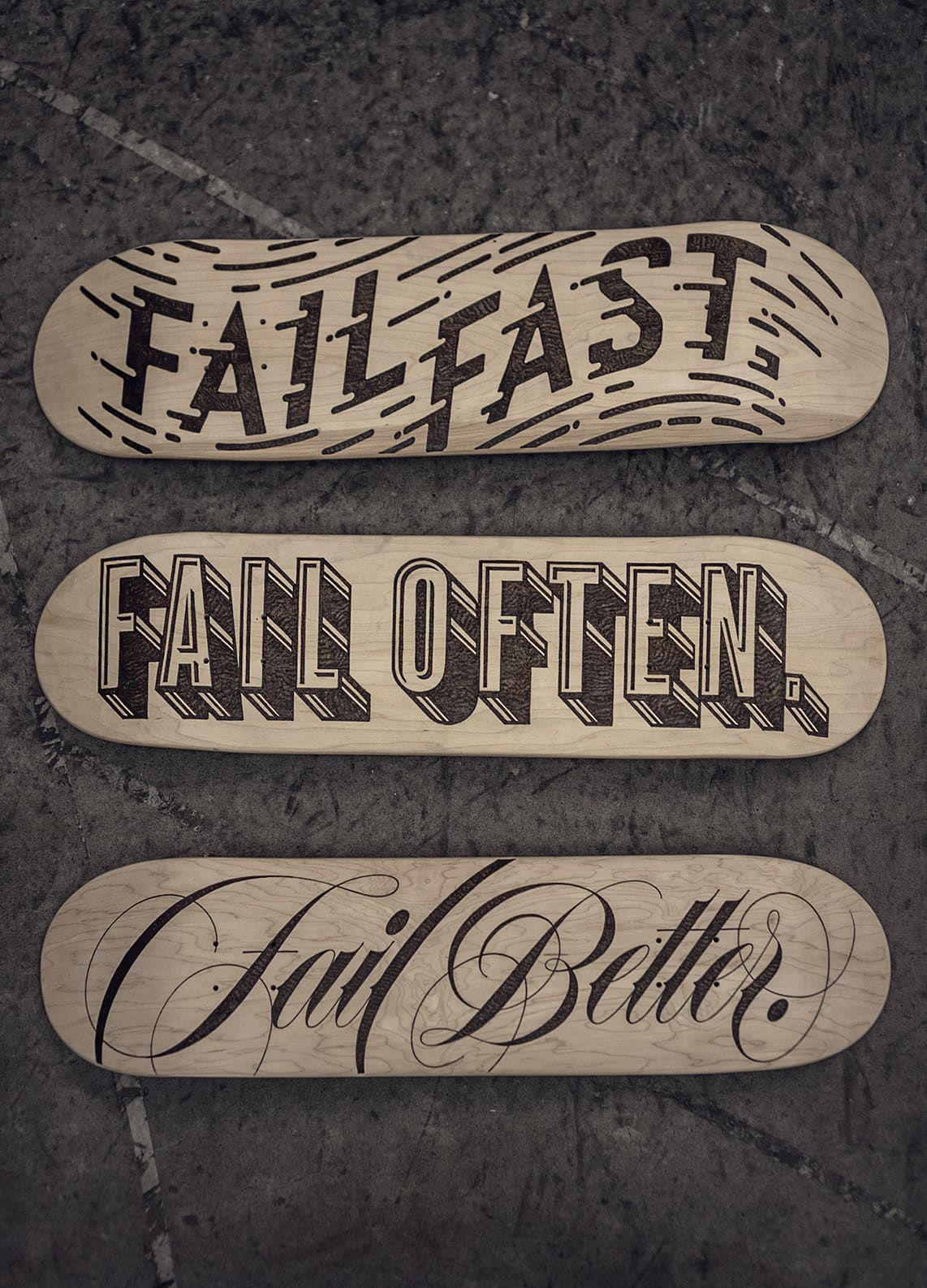 Fail Boards - Wood Burned Typographic Skateboards (2016)